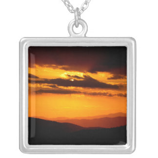 Beautiful sunset photo silver plated necklace