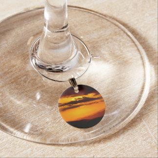 Beautiful sunset photo wine glass charm