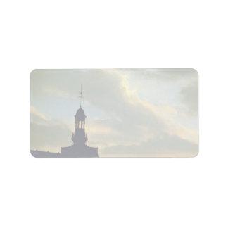 Beautiful Sunset: Red sky on Place De La Concorde, Address Label