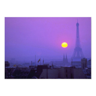 Beautiful Sunset: Red sunset on Paris and Eiffel T Card