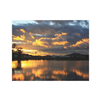 Beautiful Sunset Reflection With Fluffy Clouds Canvas Print