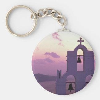 Beautiful Sunset: Santorini Fira at sunset, Greece Basic Round Button Key Ring