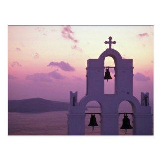Beautiful Sunset: Santorini Fira at sunset, Greece Postcard