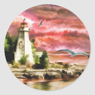 Beautiful Sunset Sky And Lighthouse Classic Round Sticker