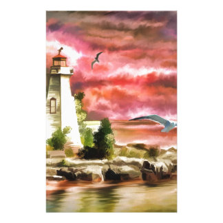 Beautiful Sunset Sky And Lighthouse Stationery Paper