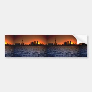 Beautiful Sunset: Toronto skyline at sunset, Ontar Bumper Stickers