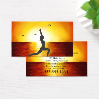 Beautiful Sunset with Yoga Pose Business Cards