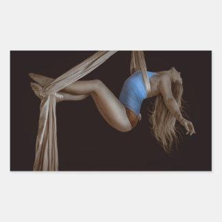 Beautiful Suspended Aerial Silk Performer Rectangular Sticker