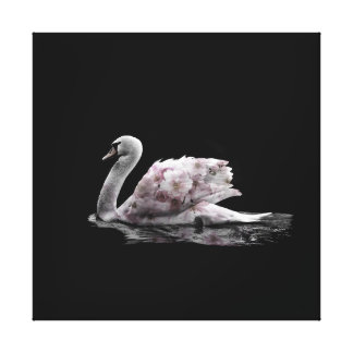 Beautiful  Swan Flower Double Exposure Photo Canvas Print