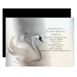 Beautiful Swan Silver Chic Elegant Invitations