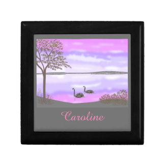 Beautiful swans lake scene, add name gift box