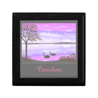 Beautiful swans lake scene, add name gift box