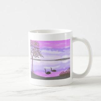 Beautiful swans lake sunset scene, add name coffee mugs