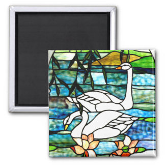Beautiful Swans Stained Glass Art Square Magnet
