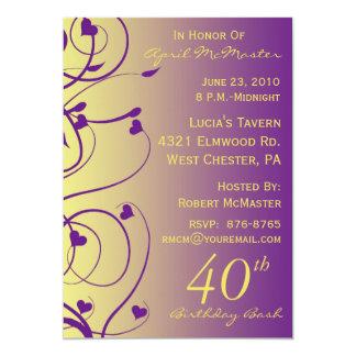 Beautiful Swirls 40th Birthday Invitation