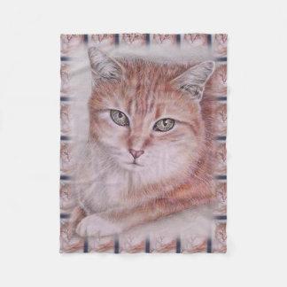 Beautiful Tabby Cat Art Drawing for Cat Lovers Fleece Blanket