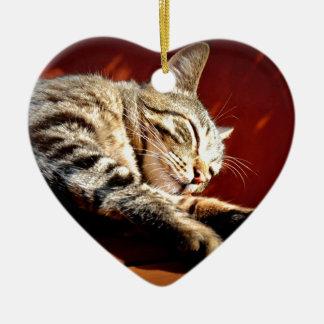 Beautiful tabby cat ceramic heart decoration