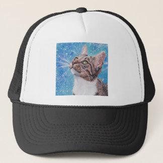 Beautiful Tabby Cat in Snow Fine Art Trucker Hat