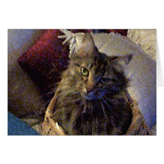 Beautiful Tabby Maine Coon Kitty Cat in a Basket Card