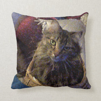 Beautiful Tabby Maine Coon Kitty Cat in a Basket Cushion