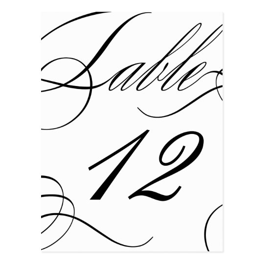 Beautiful Table Number (Customisable Text Colour) Postcard