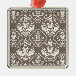Beautiful Taupe Ivory Damask Brocade Pattern Silver-Colored Square Decoration