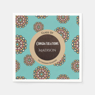 Beautiful Teal Abstract Graduation Disposable Serviettes
