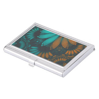 Beautiful Teal and Orange Paisley Fractal Feathers Business Card Holder