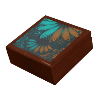 Beautiful Teal and Orange Paisley Fractal Feathers Gift Box