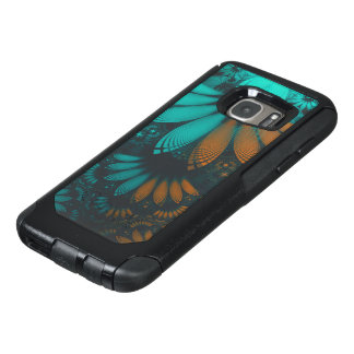 Beautiful Teal and Orange Paisley Fractal Feathers OtterBox Samsung Galaxy S7 Case