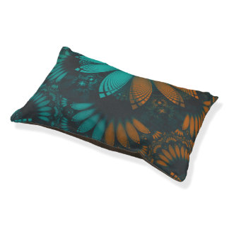 Beautiful Teal and Orange Paisley Fractal Feathers Pet Bed