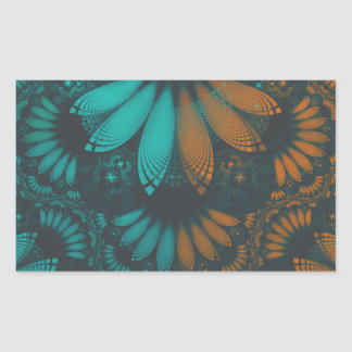 Beautiful Teal and Orange Paisley Fractal Feathers Rectangular Sticker