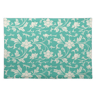 Beautiful Teal and White Floral Placemat