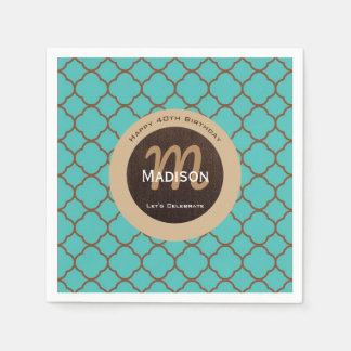 Beautiful Teal & Brown Birthday Paper Napkin