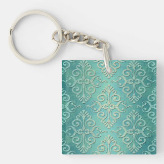 Beautiful Teal Green Distressed Damask Single-Sided Square Acrylic Key Ring