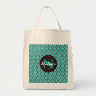 Beautiful Teal Moroccan w/Monogram Tote Bag