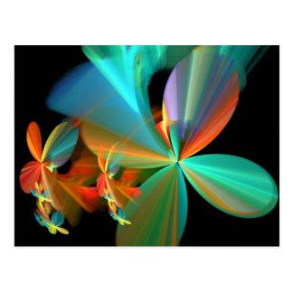 Beautiful Teal Orange Fractal Art Flower Petals Postcard