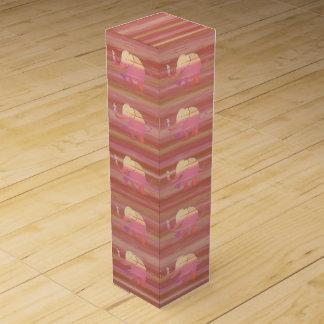 Beautiful Terracotta Elephants Pattern on Stripes Wine Box
