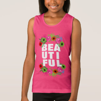 Beautiful Text And Summer Flowers Pretty Graphic Singlet