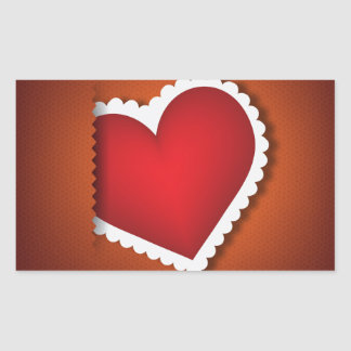 Beautiful textile heart - Valentine s Day Rectangular Sticker