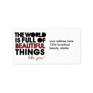 Beautiful things address label