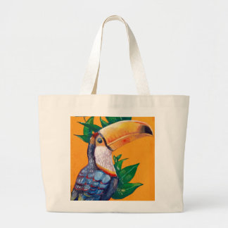 Beautiful Toucan Bird Painting Large Tote Bag