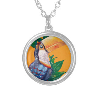 Beautiful Toucan Bird Painting Silver Plated Necklace