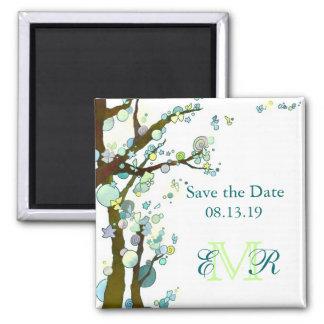 Beautiful Trees Monogram Wedding Save the Date Refrigerator Magnet