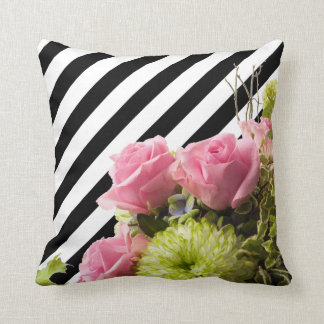Beautiful Trendy Black & White Stripes with Roses Cushions
