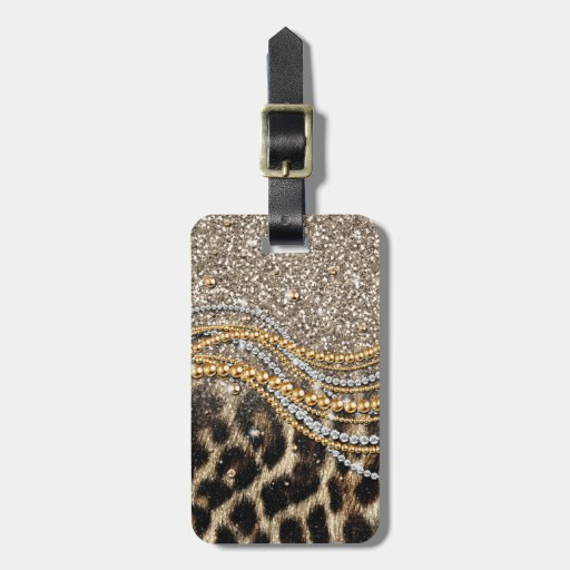 Beautiful trendy girly leopard animal print tag for bags