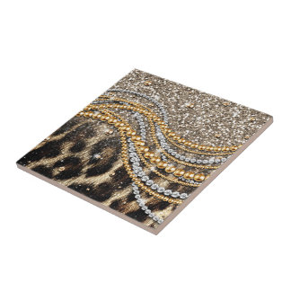 Beautiful trendy girly leopard animal print tile