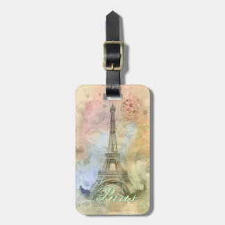 Beautiful trendy girly vintage Eiffel Tower France Luggage Tag