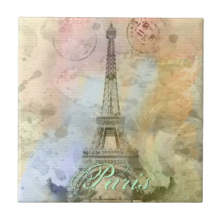 Beautiful trendy girly vintage Eiffel Tower France Small Square Tile
