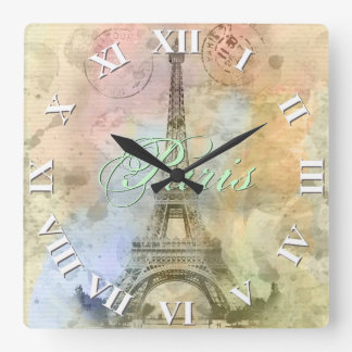 Beautiful trendy girly vintage Eiffel Tower France Square Wall Clock